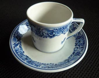 Porceleyne Fles, Delft 'demitas' cup and saucer
