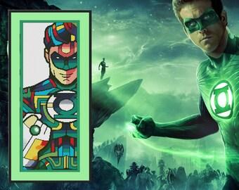 Green Lantern Cross stitch pattern instant download Gift for boy Fantasy art Comics Printable Pattern Superhero birthday gift
