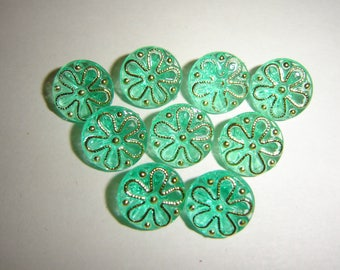 10 green baby buttons & gold / / 12 mm / / vest jacket