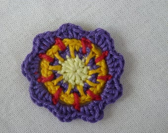 Yellow and purple - flower crochet rosette