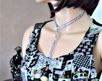 Adjustable fashion scarf necklace beaded 100% made in France