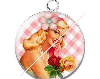 Vintage enjoy 17 pin up girl resin cabochon pendant