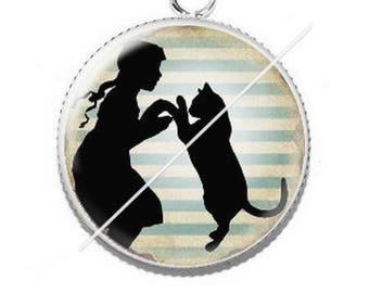 Pendant cabochons 25mm lady and her cat 10