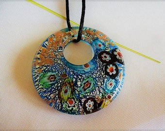 donuts chamare way blue Murano cord pendant necklace