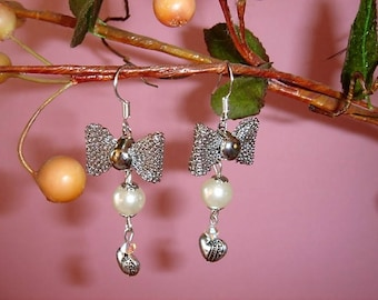 Love heart, Silver Bow and faux Pearl Earrings