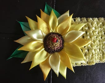 Sunflower with ladybug headband for baby girl
