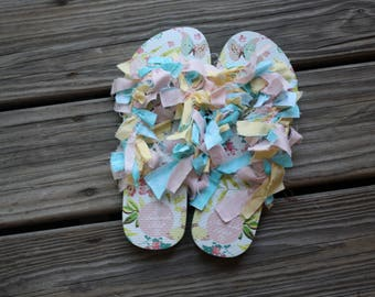 Butterfly Pattern Size 9 Women's | Flip Flops | Shaggy Shoes | Custom and One of a Kind!