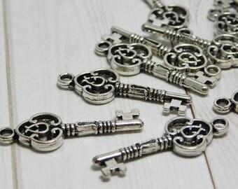 10pcs - 29x10mm - Key Charm - Filigree Charm - Metal Charms - Silver Charms - Silver Key Charm - (B711)