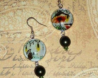 Mushroom and bridge Garland of flowers, fairy earrings, fancy, green swarovski crystal, hook/clip earrings
