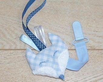 Plush Fox gingham shabby Ribbon pacifier clip