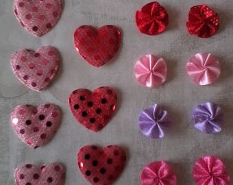 set of 15 appliques, fabric customisations: 7 hearts and flowers 8