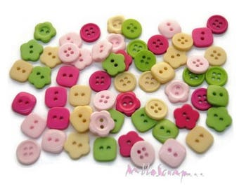 """Set of 60 buttons """"Garden Party"""" embellishment scrapbooking card making (ref.110) *."""
