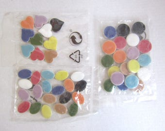 3 lots of mosaics ceramic shapes round, oval and heart - multiple colors