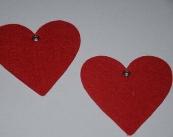 Set of two large felt hearts