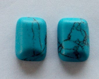 Set of 2 Turquoise Cabochons, 18 x 13 x 5 mm