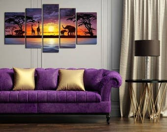 African Elephants 5PCs Artwork Canvas Wall Art