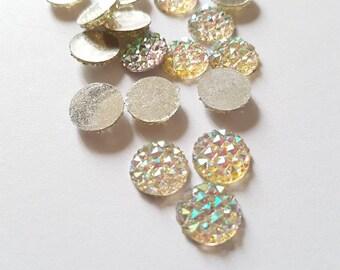10 rhinestone cabochons. 12 mm.