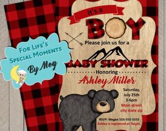 Lumberjack Baby Shower Invitations- It's boy Baby Shower Invitations - Printable File - FREE Backside
