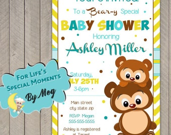 Woodland Bear Baby Shower Invitation - Printable file- Gender Nuetral Baby Shower Invite - Bear Baby Shower