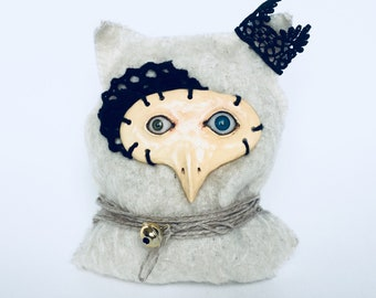 Cat-Owl, Exclusive Handmade Doll, Natural materials, collectible toy