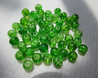 CRAQUELEES green 6 mm beads Pack of 50 units for creations necklaces, bracelets or earrings earrings
