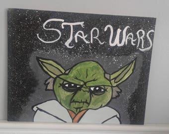 Star Wars Acrylic Painting Yoda