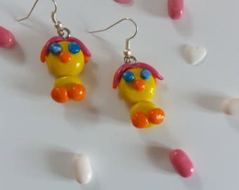 """""""My little chicks"""" earrings with polymer clay"""