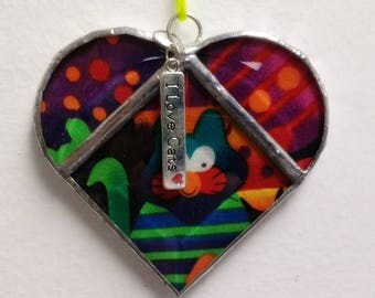 "Stained Glass Heart Cool Colorful Cat ~ Two-Sided ~ 3.5  Inches with ""I Love Cats"" Heart Charm"