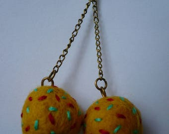earrings, Pearl embroidered, multicolor wool, fiber jewelry.
