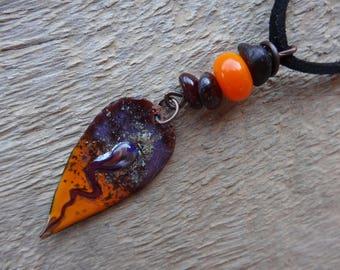 Pendant necklace - the poison arrow - enamel, gems, copper