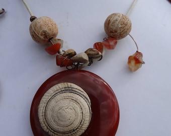 Necklace rustic tribal carnelian, fossil ceramics, copper