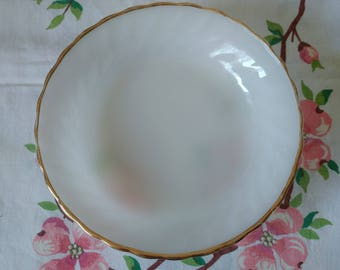 Vintage Fire King Soup Bowl Milk Glass with Gold