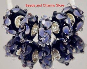 Purple Rosette Lampwork Black Murano Glass Bead Charm For European Bracelet BeadsAndCharmsStore