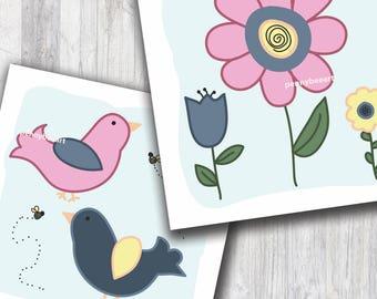 Birds and Flowers Nursery Art, Nursery Wall Art, Nursery Decor, Baby Girl Nursery, Toddler Room Decor, Toddler Wall Art, Birds Nursery Decor