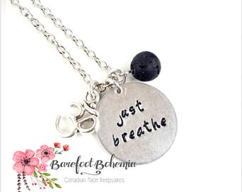Just breathe charm, charm necklace, inspirational necklace, gift for her, new mom gift, Valentines day gift, mindfulness gift, birthday gift
