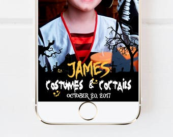 Halloween Costume & cocktail Party Snapchat Geofilter, Halloween Pumpkin, Halloween Party filter, Custom Snapchat Halloween, Snapchat filter