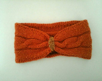 wool and silk hand knit cabled headband