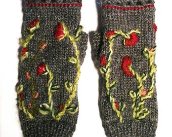 Fingerless gloves with thumb and embroidered flowers, Virgo, silk and alpaca wool