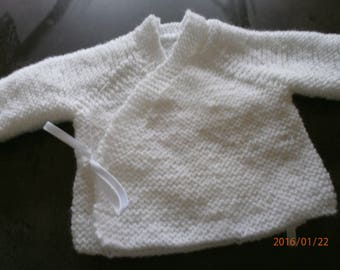 early white jacket in garter stitch