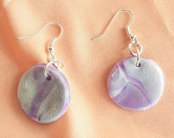 Purple and white round earrings