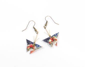 Butterfly origami earrings multicolor and blue Japanese washi paper