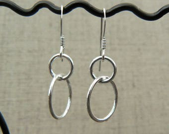 Earrings silver Sterling 925, intertwined rings