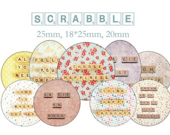 """Cabochons collage sheet / digital """"Scrabble, quote"""" circles and ovlales"""