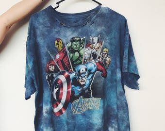 Thrifted, dyed and distressed one-of-a-kind AVENGERS T