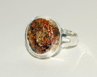 Glass bubble ring - gold metal leaf Inclusion
