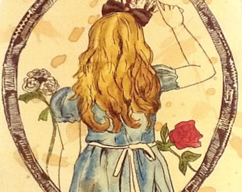 Watercolour Alice Through The Looking Glass
