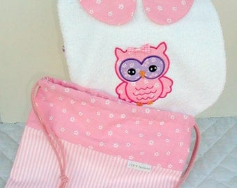 matching bib and POUCH set, baby gift, birthstone