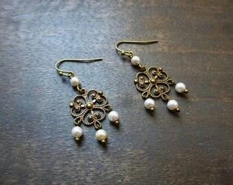 "Bronze wedding ""Rosalia"" with swarovski pearls earrings"