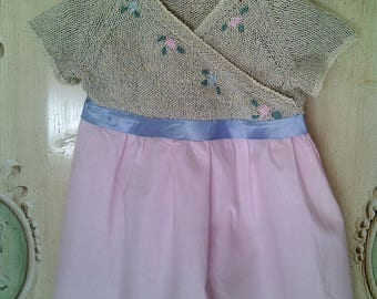 flower girl dress flower girl dress crochet handmade blue-suit-sleeves embroidered with satin ribbon