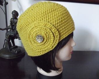 Hat retro style women mustard crochet handmade